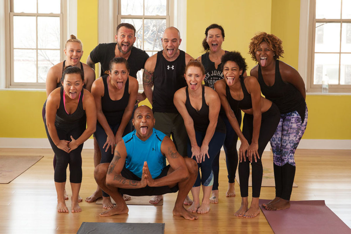 Keith Golden, front and center, with a yoga class.Keith Golden