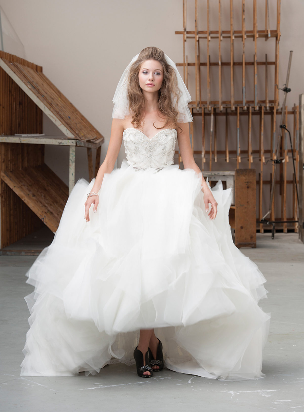 the way she moves leather wedding dress Malis Henderson ivory veil at Betsy Robinson s Bridal Collection Poetic License Red Alert leather shootie at Poppy