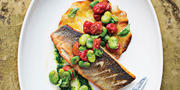 Branzino with basil purée and fava beans.Photography by Scott Suchman