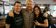"Anthony ""Tony"" Vasiliades, left, with his wife Sofia and Guy Fieri.Sip & Bite"