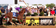 California Chrome crossing the finish line at the 2014 Preakness Stakes.Courtesy of Preakness