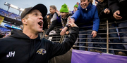 Coach John Harbaugh thanks fans after Sunday's victory over the Cleveland Browns.Baltimore Ravens