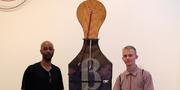 Malcolm Lomax and Daniel Wickerham in front of one of the works from their Sondheim entry.Courtesy of Baltimore Museum of Art