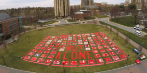 The Monument Quilt was on display at Towson University on Wednesday.Courtesy of FORCE: Upsetting Rape Culture