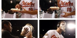 -Photo by the Baltimore OriolesAdam Jones pieing Chris Davis in the face.