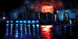 "During his years in Baltimore, this once-landlocked Colorado native was inspired by the reflection of the Domino Sugars sign in the Inner Harbor. ""At night, the bright brilliant colors from the sign and the atmospheric lights from the old factory building would reflect onto the water's surface,"" he says from Los Angeles, where he now lives. ""In the same way as a beautiful sunset.""BRIAN VOGT / OIL PAINTING"