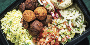 Falafel balls and all the fixings.Photography by Scott Suchman