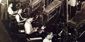 Linotype machines in action.Courtesy of the Baltimore Museum of Art