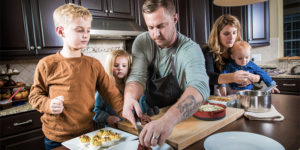 Bryan Voltaggio cooks at home with his family.Photography by Justin Tsucalas for Baltimore Style