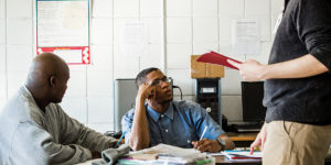 Maurice Smith, left, and Sekwan Merritt during an English class at MCIJ.Photography by Justin Tsuclas