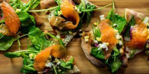 Smoked salmon flatbread at Gunther & Co., which will participate in restaurant week for the first time this summer.Courtesy of Gunther & Co.