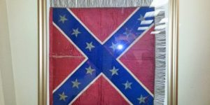 "An early ""Southern Cross"" flag,  sewn by Baltimore society woman Hetty Carry and given to Confederate Gen. Joseph E. Johnston, now in the collection of the Museum of the Confederacy.Courtesy Michelle L. Hamilton"