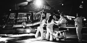 MedEvac helicopters bring a steady stream of patients in dire condition to the R Adams Cowley Shock Trauma Center at UMMC.Coos Hamburger