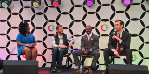 Panel featuring, left to right, April Reign, Chris Jeffrey, Chris Wilson, and Gabriel AuteriPhotography by Jess Mayhugh