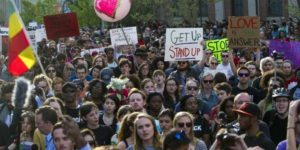 Peaceful protestors marching from Penn Station to City Hall Wednesday afternoon.Photo courtesy of UPI