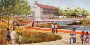 A rendering of a public park along the waterfront, with Sagamore Spirit distillery in the background.Sagamore Development Company