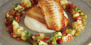 Pan-roasted fluke with cauliflower purée.Photography by Ryan Lavine