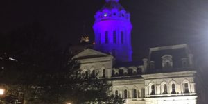 The City Hall dome was illuminated purple Thursday night in honor of the late musician.  Courtesy of @MayorSRB via Twitter