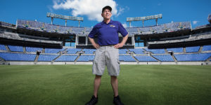 Head groundskeeper Don Follett at M&T Bank Stadium.Photography by Mike Morgan