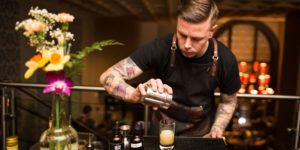 Ryan Sparks of Bookmakers crafts a rye cocktail at the annual competition. Courtesy of the Baltimore Bartenders' Guild
