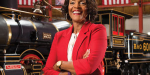 Sheila Dixon poses in the roundhouse at the B&O Railroad Museum on September 13.Photography By Sean Scheidt