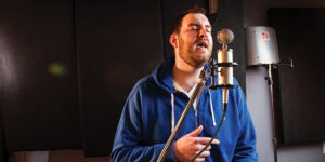 Evan Wallace, aka e-dubble, at the Parkville studio where he records.  Sean Scheidt