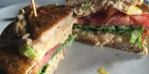 "Chef Sarah Acconcia's ""Baltimore Bay B.L.T.""Courtesy of Thomas'"