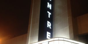 The Centre Theater marquee lights up North Avenue Tuesday night for the first time since 1959.Photography by Ron Cassie