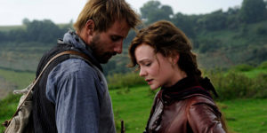 Matthias Schoenaerts as shepherd Gabriel Oak, with Carey Mulligan's Bathsheba