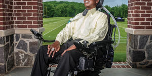 O.J. Brigance poses outside of the Ravens Under Armour Performance Center in Owings Mills.Photography by Mike Morgan