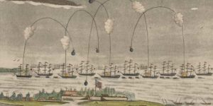 This view of Fort McHenry, from an engraving by John Bower, was created from the observatory of British admirals Cochrane and Cockburn and depicts the scene on the morning of September 13, 1814. The bombardment lasted 24 hours, with up to 1,800 shells hurled at the fort by the British fleet.LIBRARY OF CONGRESS, PRINTS & PHOTOGRAPHS DIVISION, [LC-DIG-ppmsca-35544]