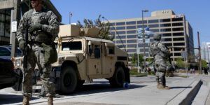 National Guard troops stationed along Pratt Street in the Inner Harbor.Business Insider