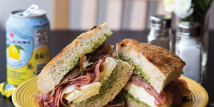 Prosciutto, fresh mozzarella, and pesto on foccacia.Photo by Ryan Lavine