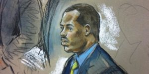 A courtroom sketch of defendant Officer William PorterBill Hennessy