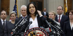 Baltimore City state's attorney Marilyn Mosby announcing charges against six police officers in the death of Freddie Gray.Photo Courtesy of Alex Brandon/Yahoo