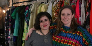 Julie Lilenfeld, left, and Athena Hoffberger post in their Mt. Washington boutique Wishbone Reserve.Photography by Sydney Adamson