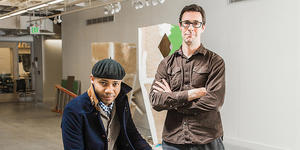 Paul D. Miller, left, and Aaron Henkin at MICA's Graduate Studio Center.Photo by Justin Tsucalas
