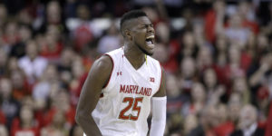 Maryland forward Jonathan Graham celebrates after a turnover against Penn State.AP Photo/Patrick Semansky