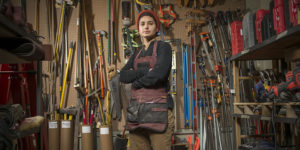 Hannah Wides, 26, artist, woodworker, and instructor at the Station North Tool Library.Photography by Christopher Myers