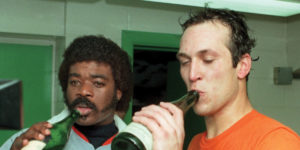 1983: the Orioles have always celebrated with champagne in the locker room.