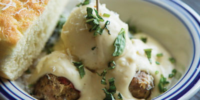 The Parmesan cream sauce paired well with the spicy pork meatballs.Photography by Scott Suchman