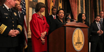 U.S. Attorney General Loretta Lynch at City Hall Thursday to announce a consent decree agreement with Mayor Catherine Pugh and Police Commissioner Kevin Davis.Meredith Herzing