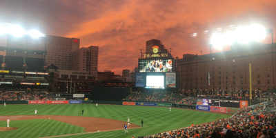 The orange sky was an ideal backdrop for the Orioles second win of the year.Photography by Nick DeMetrick