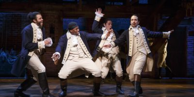 Daveed Diggs, Okieriete Onaodowan, Anthony Ramos, and Lin-Manuel Miranda in Hamilton.Courtesy of the Hippodrome.