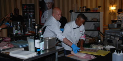 Chef Jeff Keeney of Tark's Grill competing in the first round.Courtesy of the Mason Dixon Master Chef Tournament