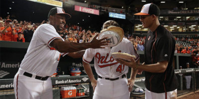 Chris Parmelee getting one of three pies to the face after his epic Tuesday night game.Courtesy of the Baltimore Orioles