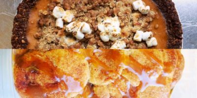 The Caramel Apple Snickerdoodle Cobbler and sweet potato pie with brown butter pecan crust available to order from PieCycle this Thanksgiving. Courtesy of PieCycle
