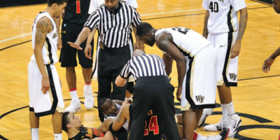 Sean Hull referees a University of Maryland-Wake Forest basketball game.Courtesy of Salisbury University