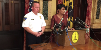 Mayor Stephanie Rawlings-Blake with interim police commissioner Kevin Davis at City Hall Thursday.Ron Cassie