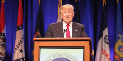 Donald Trump addressed National Guard Association Monday afternoon at the Baltimore Convention Center.Photography by Meredith Herzing